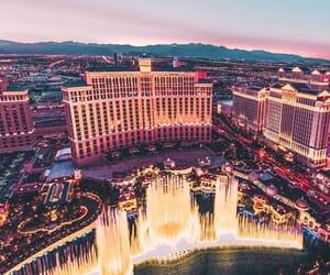 city, fountain, and Las Vegas image