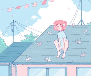 art, girl, and sky image