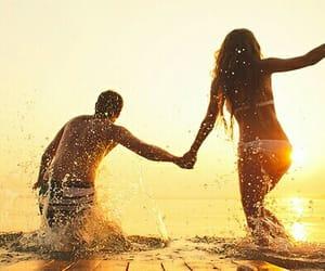 bikini, couple, and sun image
