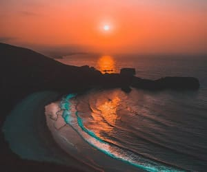 beach, sunset, and landscape image