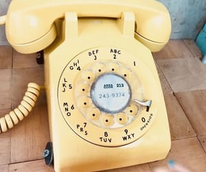 yellow, phone, and vintage image