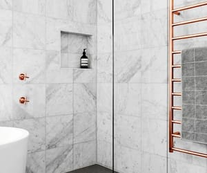 marble, rose gold, and bathroom image