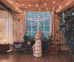 fairy lights, cosy home, and boho chic image