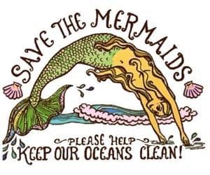 mermaid, ocean, and overlay image