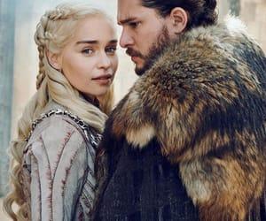 game of thrones, jon snow, and daenerys targaryen image