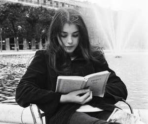 girl, book, and black and white image