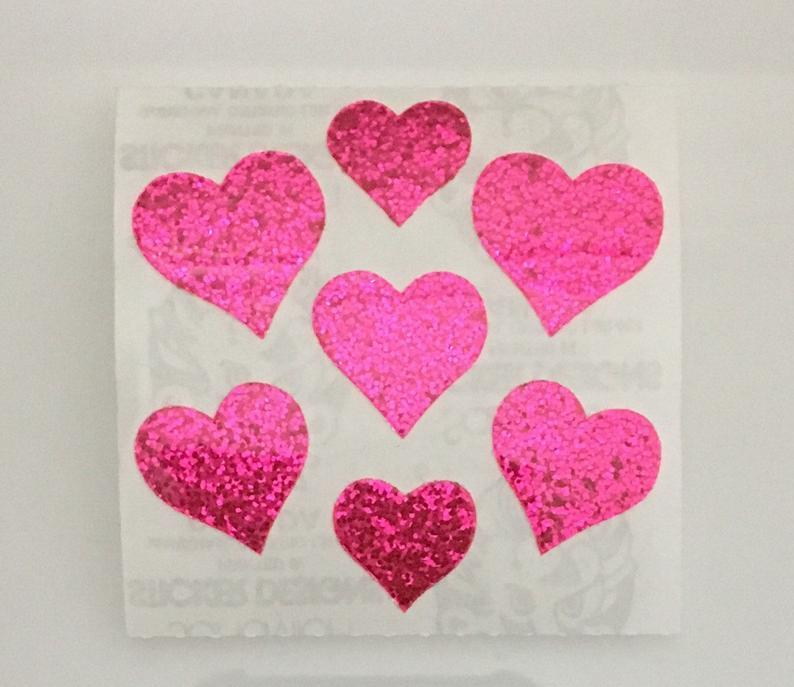 hearts, stickers, and glitter image