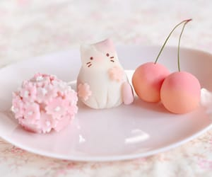cherry, cat, and kawaii image