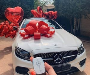 car, mercedes, and present image
