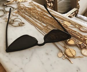 sunglasses, gold, and jewelry image