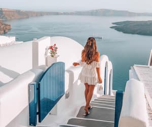 girl, Greece, and ocean image