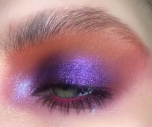 eyeshadow, green eyes, and purple image