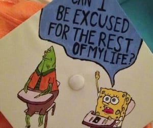 spongebob, graduation, and funny image