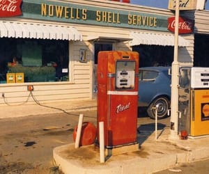 gas station, red, and retro image