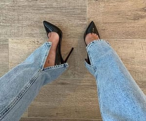 chic, denim, and shoes image