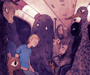 monster, art, and subway image