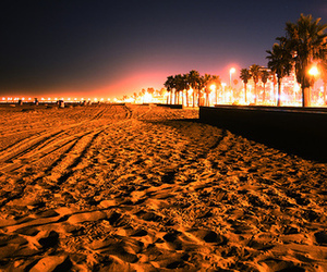 beach, light, and night image