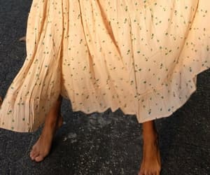 aesthetics, bare feet, and dress image
