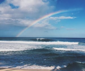 beach, rainbow, and sea image