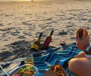 beach, drink, and food image