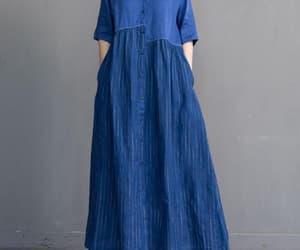 blue dress, etsy, and loose dress image