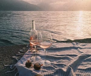drink, sea, and wine image