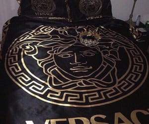 Versace, bed, and gold image