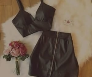 black, outfit, and jupe image
