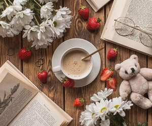books, coffee, and delicious image