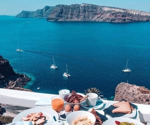 breakfast, santorini, and sea image