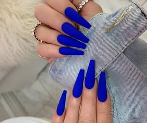 nails, acrylic, and blue image