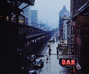city, rain, and bar image