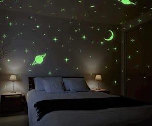 bedroom, stars, and light image