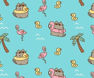wallpaper, pusheen, and background image