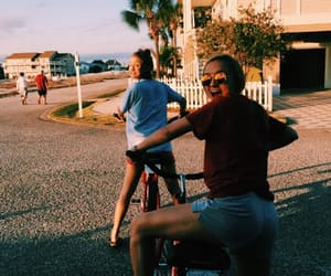 beach, best friends, and bicycles image