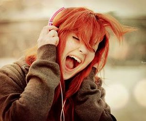 girl, music, and red image