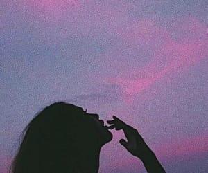 girl, sky, and pink image