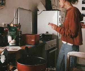 girl, aesthetic, and kitchen image