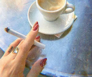 coffee, nails, and cigarette image