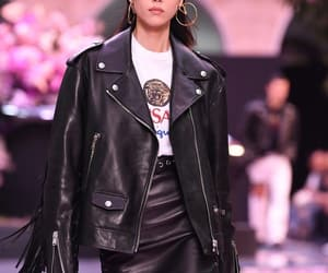 leather, liu wen, and Versace image