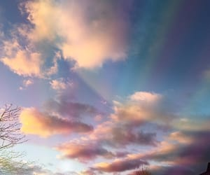 sky, clouds, and rainbow image