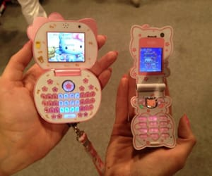 hello kitty, phone, and sanrio image