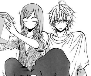 black white, boy girl, and manga image