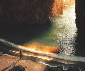 ocean, beach, and cave image