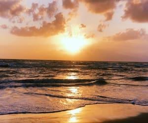 beach, magic hour, and sea image