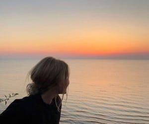 sunset and girl image