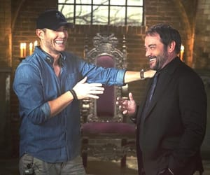 crowley, dean winchester, and mark sheppard image
