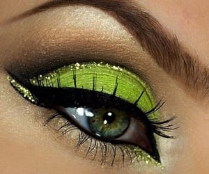 makeup, green, and eyes image