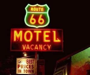 vacancy, route 66 motel, and neon motel sign image