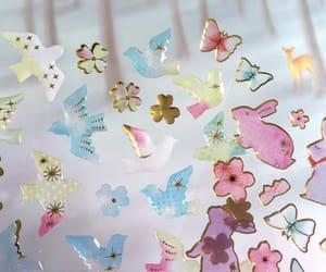 pink rabbit, bird sticker, and bird gift image